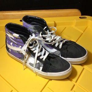 Black Suede/Camo Canvas Vans Sk8 Hi-Top Shoes